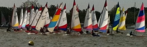 A Crowded start line at the Broadland Youth Regatta
